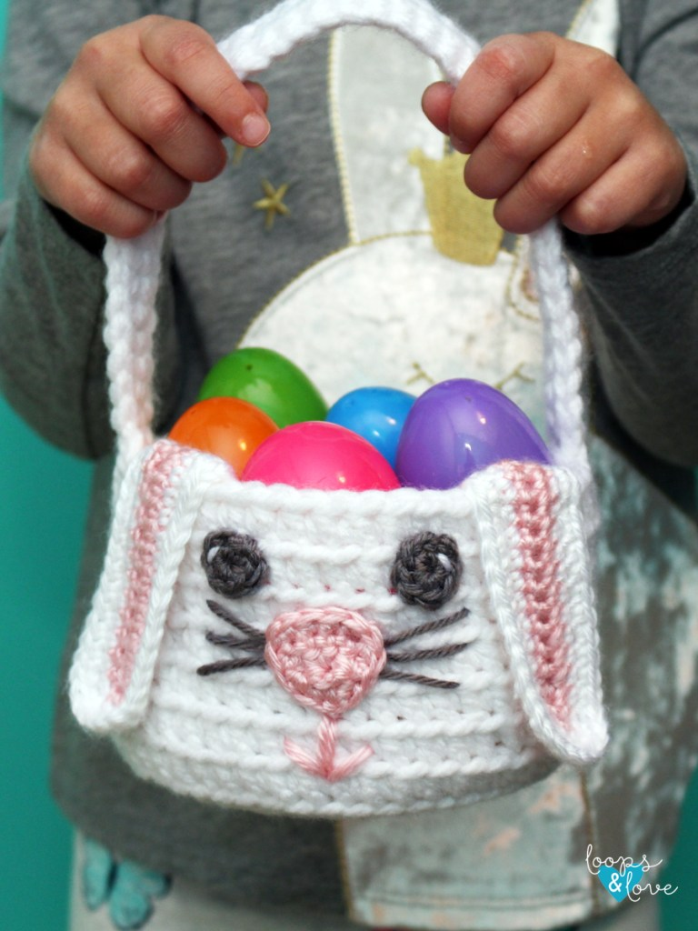Crochet Bunny Basket being held by child