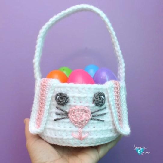 Crochet Bunny Basket by Loops and Love Crochet