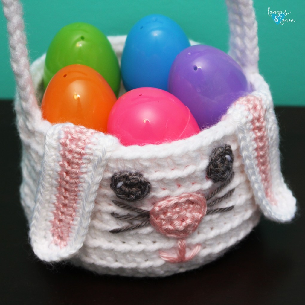 Crochet Bunny Basket Close up