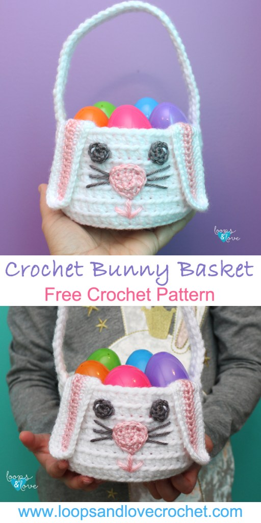 Pinterest Pin for Crochet Bunny Basket