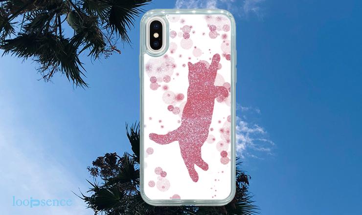 ループセンス、猫のシルエットデザイン。オリジナルグリッタースマホケース