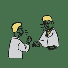 会話・質問される男性教員のイラスト