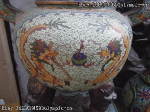 Two Dragon Chinese Cloisonne Incense Burner