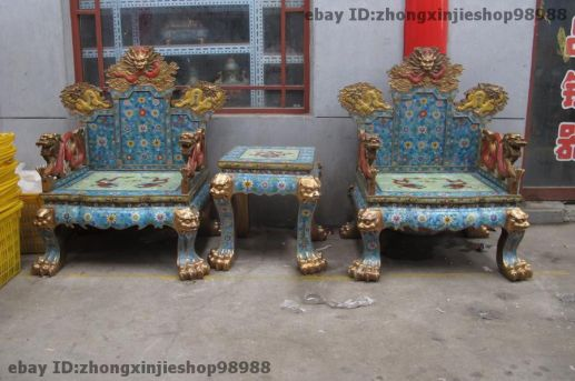 Chinese Royalty Cloisonne Table and Chairs