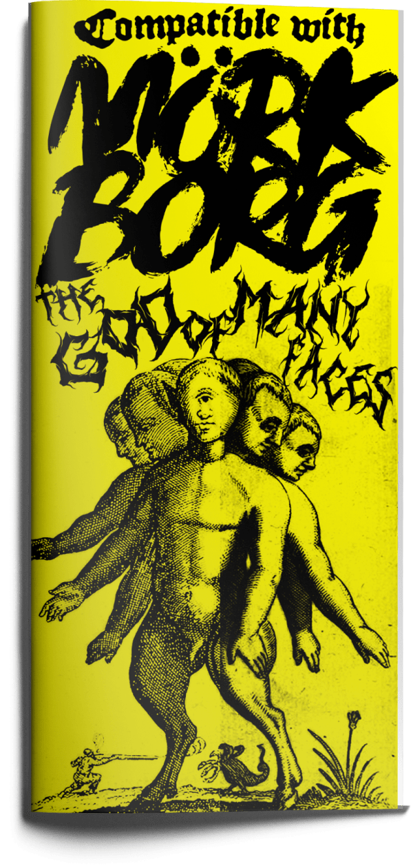 """A digital mockup of a yellow trifold pamphlet. The cover shows a humanoid figure with multiple arms and heads. The title is rendered in a font reminiscent of black metal logos and reads """"The God Of Many Faces"""""""