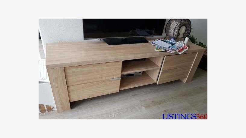 meuble tv bois beige l 2m h60cm p60cm