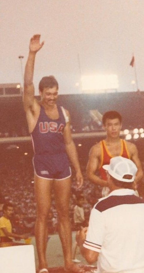 Lee Palles on the medal stand at the 1980 Liberty Bell Classic