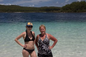 Caitiln and Gail at Lake Mckenzie