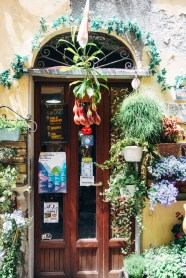 A cool garden store with an amazing pitcher plant hanging infront of the door.
