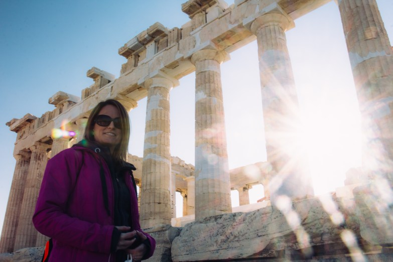 Caitlin taking the Parthenon in.