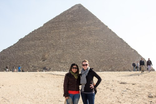 Zeina and Caitlin in front of the Great Pyramid of Giza