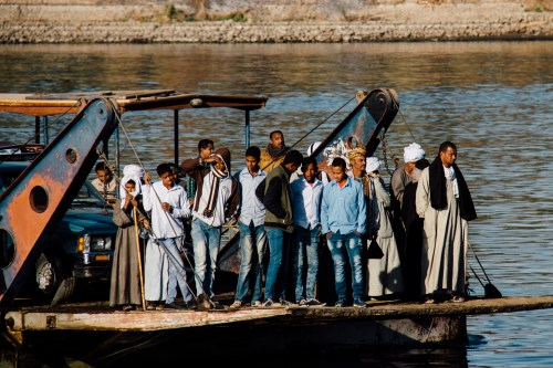 A ferry that was taking people across the Nile. I assume for work, school or whatever errands they needed to accomplish.