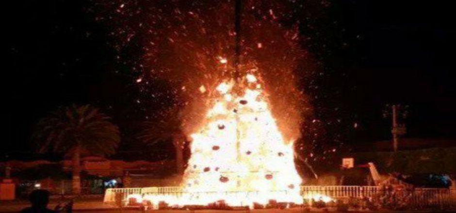 Se incendia árbol de Navidad en Hidalgo - Foto de Internet