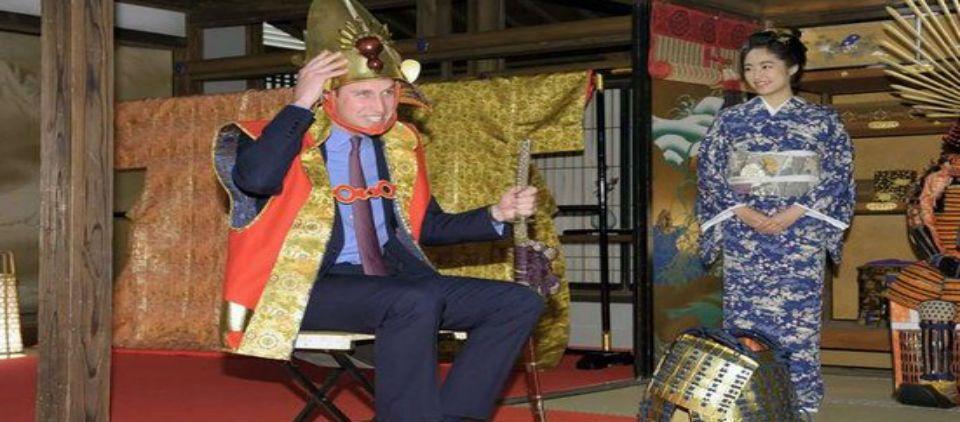 Príncipe William se viste de samurái - Príncipe William en Japón