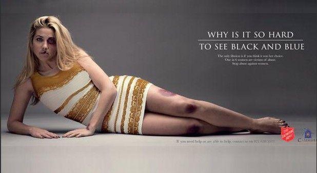Sudáfrica usa el famoso vestido para campaña contra abuso - Sudáfrica usa el famoso vestido para campaña contra abuso
