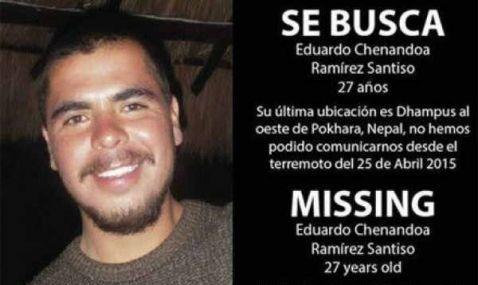 Localizan a mexicano desaparecido tras sismo en Nepal - Eduardo Chenandoa Ramírez