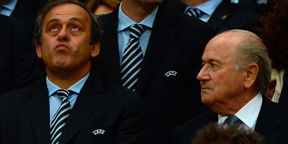 La FIFA suspende a Joseph Blatter y a Michel Platini - Michel Platini y Joseph Blatter. Foto de ecofoot.fr