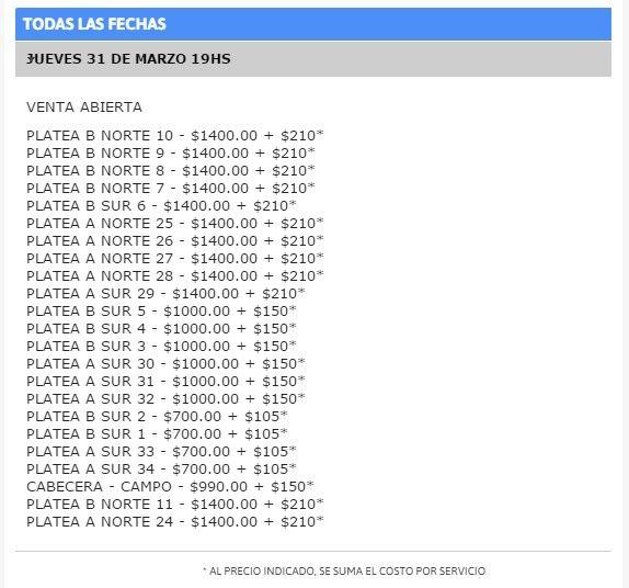 coldplay argentina precios