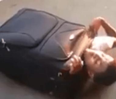 Video: detienen a hombre que intentaba meterse en una maleta para llegar a Suiza