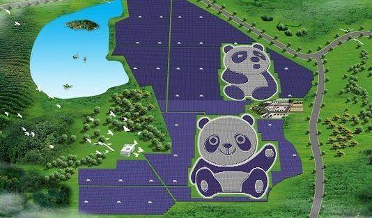 Construyen planta solar con forma de panda en China