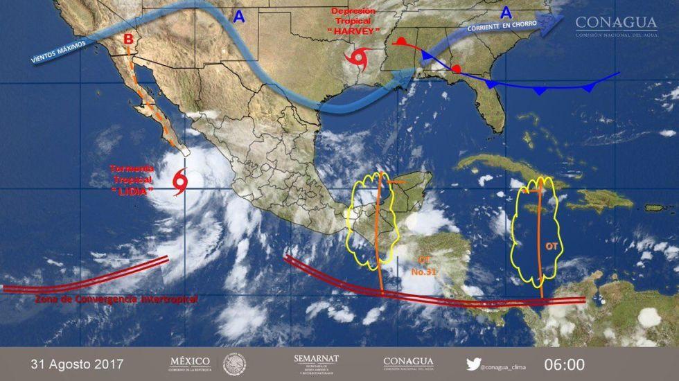 Activan alerta naranja en BCS por tormenta tropical Lidia - Foto de Conagua