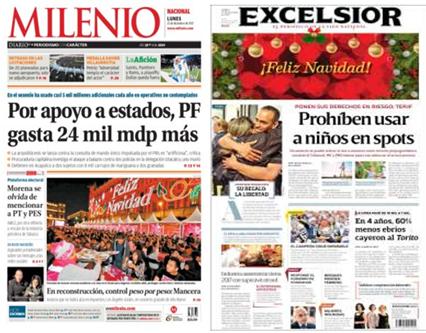 Navidad y elecciones en las portadas del lunes