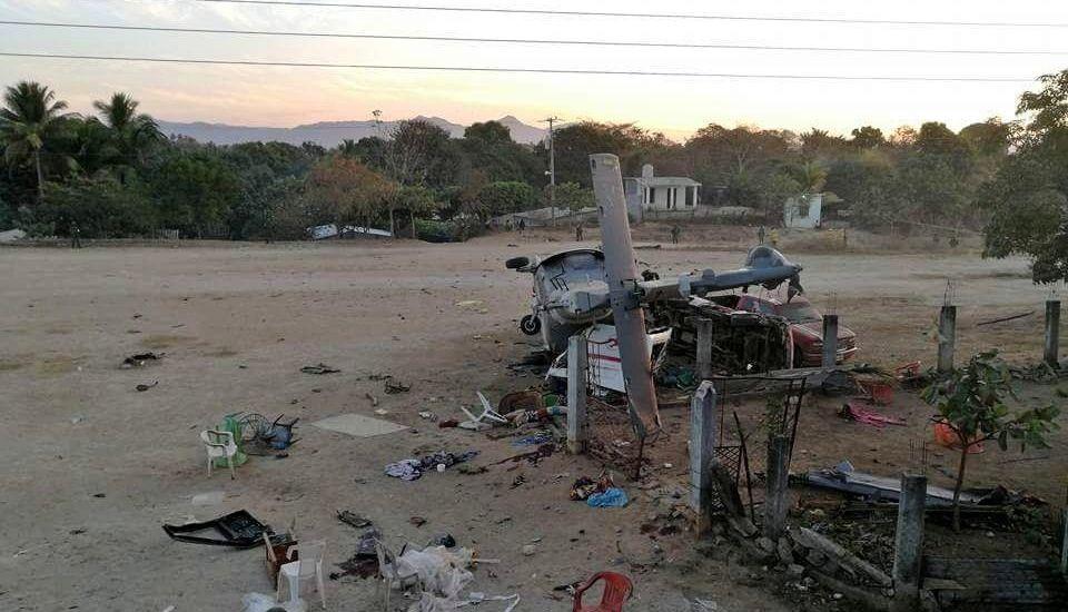 Ejército resguarda sitio donde cayó helicóptero de Navarrete Prida y Murat - Foto de @lajornadaonline