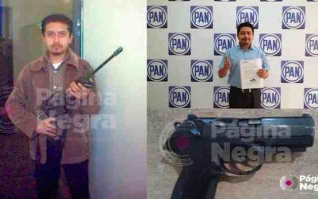 Precandidato panista en Puebla posa con rifle exclusivo del ejército