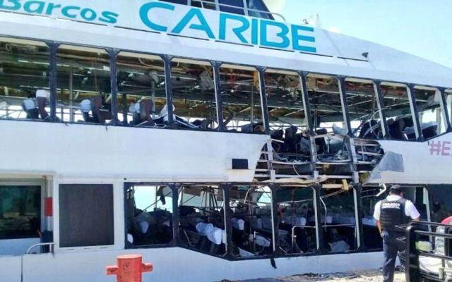 Descartan terrorismo en explosión de ferry en Playa del Carmen - Foto de Twitter