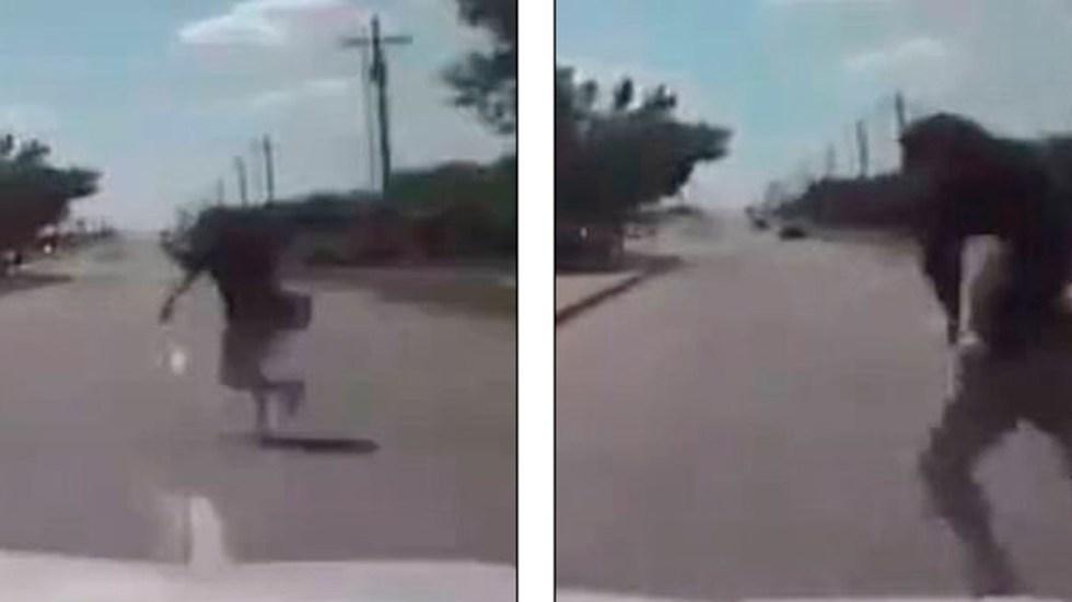 #Video Patrulla arrolla a ladrona de camioneta tras persecución