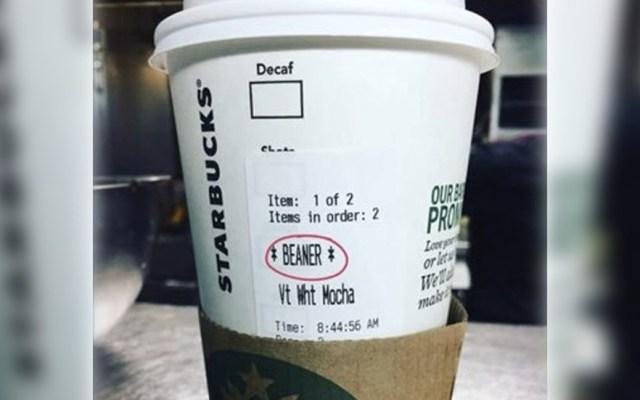 Escriben 'frijolero' en vaso de mexicano en Starbucks de Los Ángeles - Foto de @armandapari