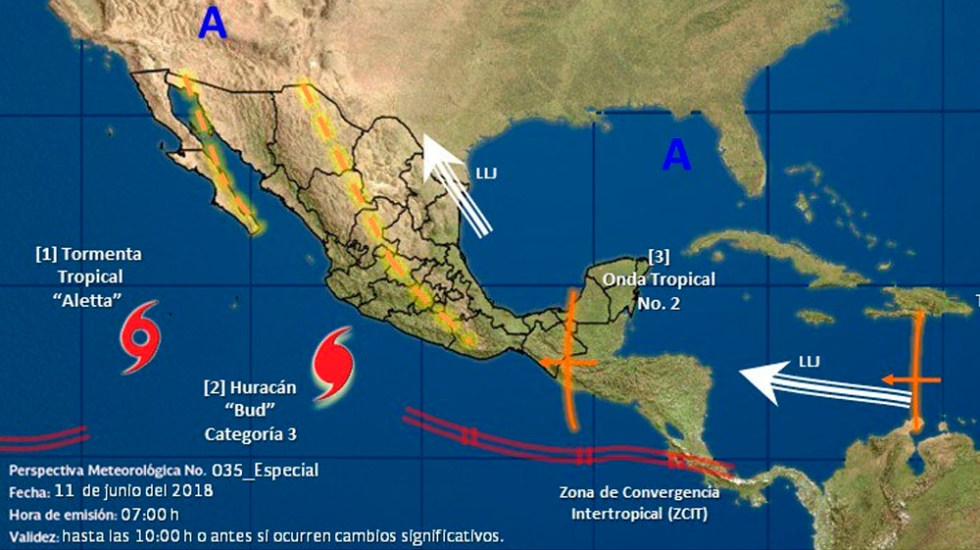 Huracán Bud alcanza la categoría 3 - Foto de @conagua_clima