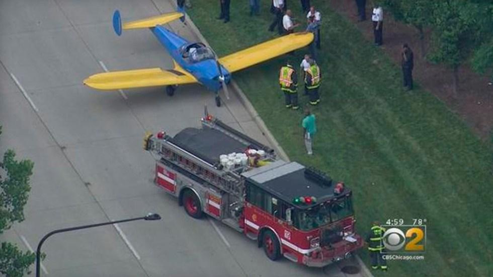Avión pequeño realiza aterrizaje de emergencia en Chicago - Foto de CBS