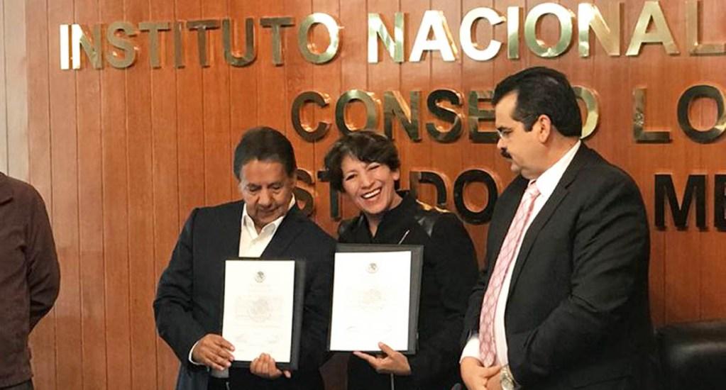 Dan a Delfina Gómez constancia de mayoría como senadora - Foto de @delfinagomezmeza