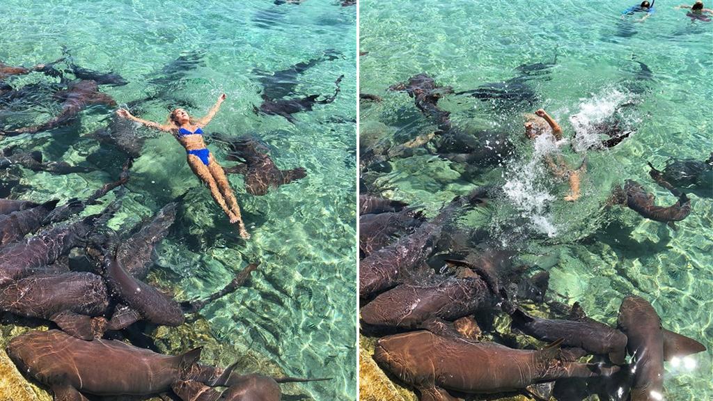 Modelo posaba para foto en Instagram y la mordió un tiburón