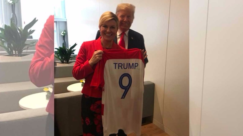 Presidenta croata regala playeras de su selección a Trump y Theresa May - Foto de Internet