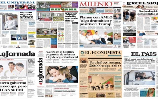 López Obrador y Trump en primeras planas