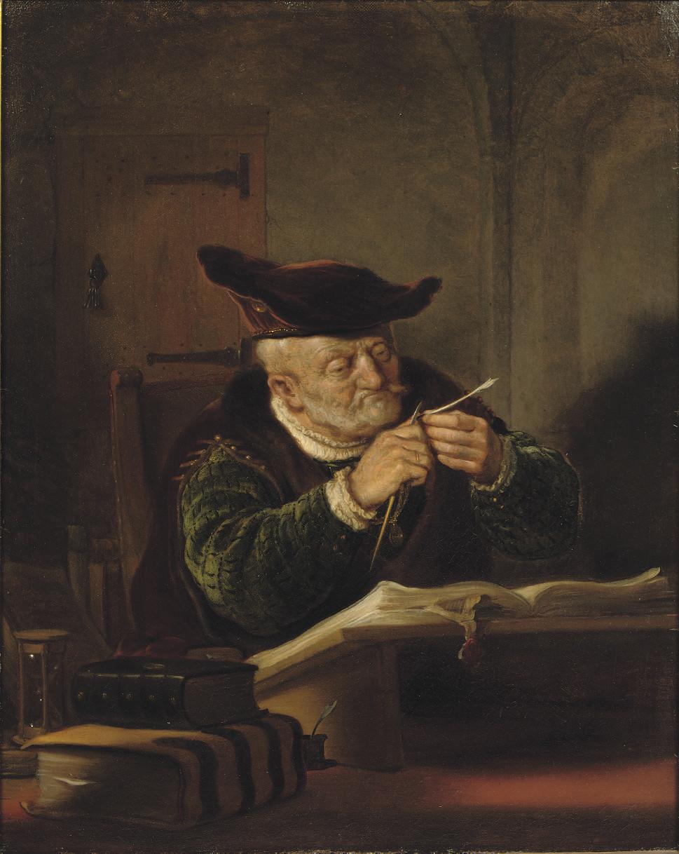 """A scholar sharpening his quill"" de Salomon Konick"