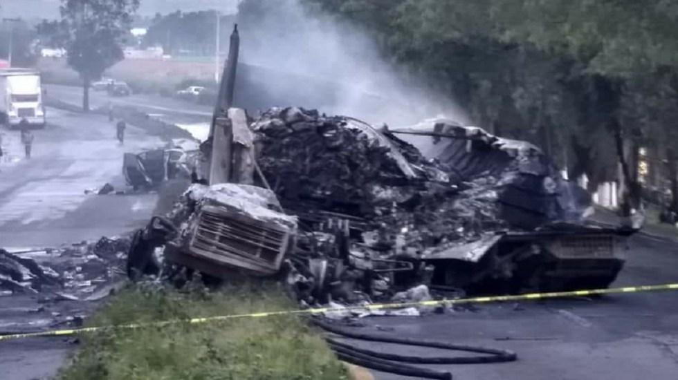Incendio de tráiler deja dos muertos en la Lechería-Texcoco - Foto Especial