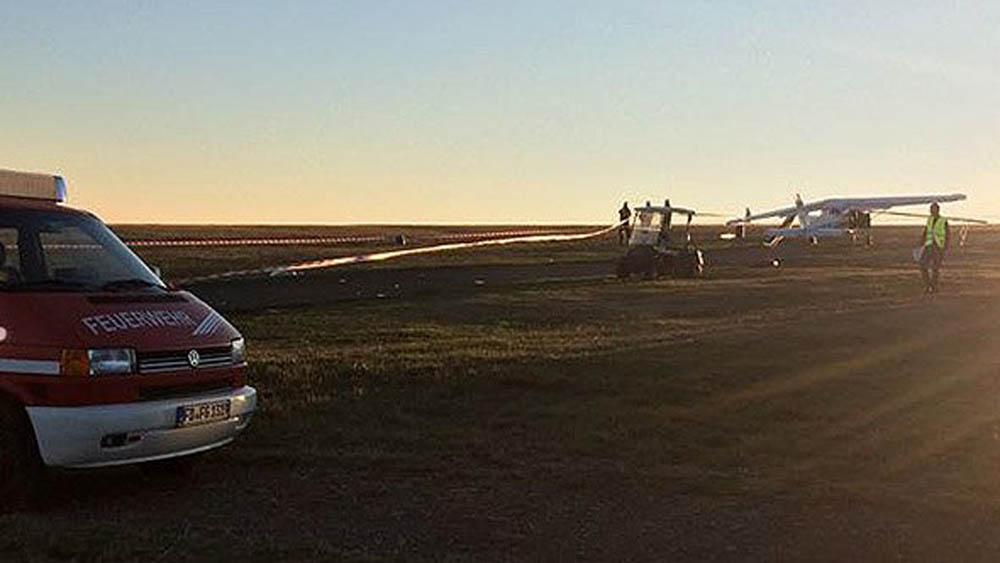 Servicios de emergencia en aeródromo de la montaña Wasserkuppe por accidente. Foto de @RalphGoerlich