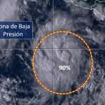 Alertan por baja presión con potencial de desarrollo ciclónico en cosas de Michoacán y Guerrero - Foto de Conagua