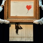 Banksy quería destrozar completamente su obra pero el sistema falló - Foto de BEN STANSALL / AFP