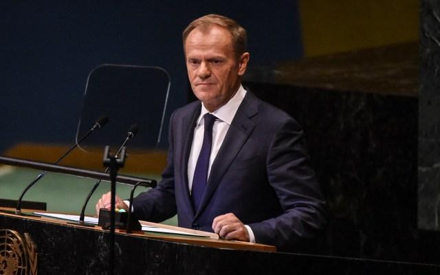 Unión Europea llama a Theresa May a finalizar Brexit - Donald Tusk en la Asamblea General de la ONU. Foto de AFP / Getty Images