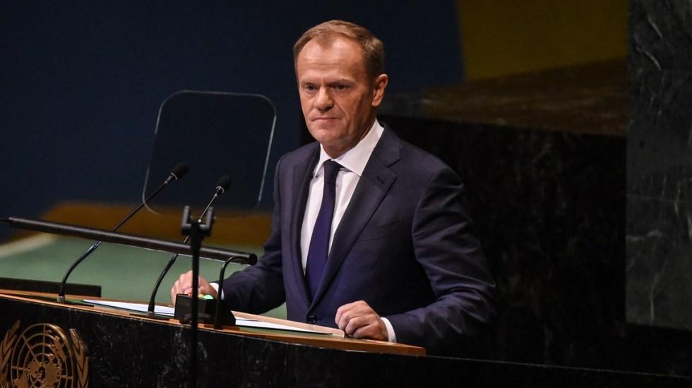 Tusk critica a Trump por oponerse a una Europa unida y fuerte - Donald Tusk en la Asamblea General de la ONU. Foto de AFP / Getty Images