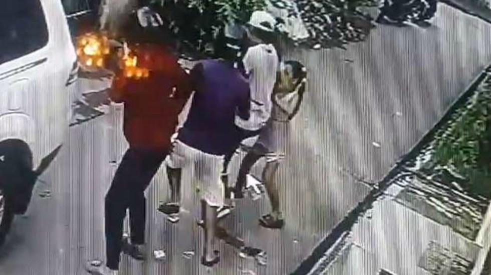 #Video Niña intenta detener a grupo de ladrones en Filipinas - Captura de pantalla