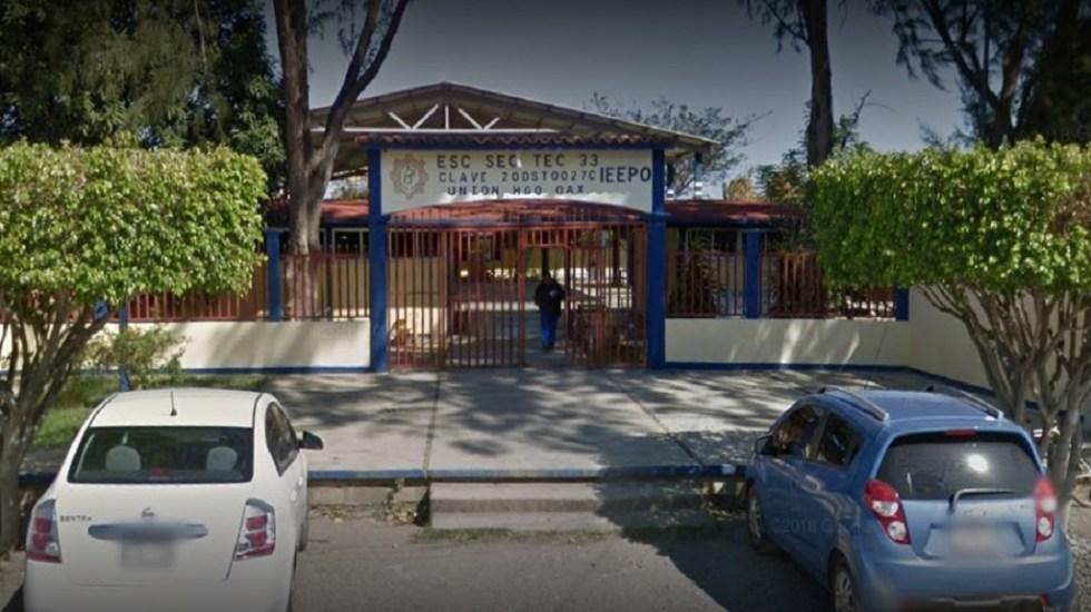 Ordenan reconstrucción inmediata de secundaria en Oaxaca - Secundaria 33 en Unión Hidalgo, Oaxaca, antes del sismo de septiembre de 2017. Foto de Google Maps