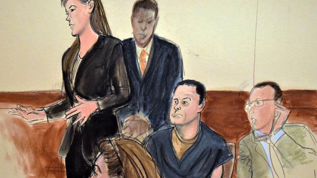 Ilustración de audiencia de El chapo en Brooklyn. Foto de Internet