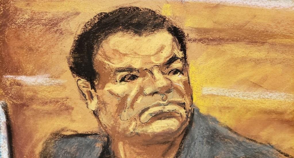 Condenan a cadena perpetua a Joaquín 'el Chapo' Guzmán - Ilustración de El Chapo durante su juicio. Foto de Twitter