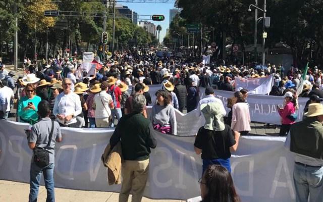 Manifestantes obstruyen Paseo de la Reforma - Manifestantes en Reforma. Foto de @kabrakan