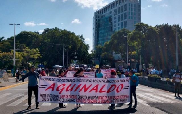 Manifestantes provocan caos en Tabasco - Foto de Notimex